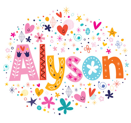 sweet stuff: Alyson female name decorative lettering type design Stock Photo