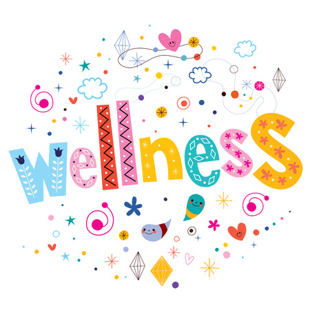 spa collage: wellness typography lettering text design