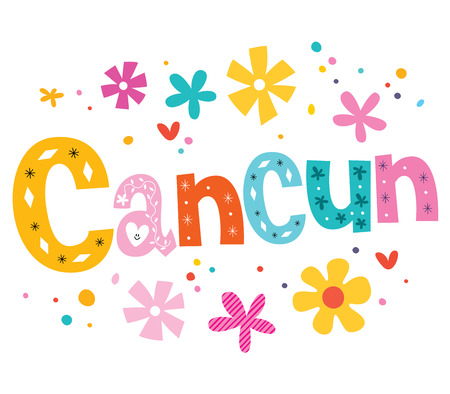 cancun: Cancun Mexico vector lettering decorative type
