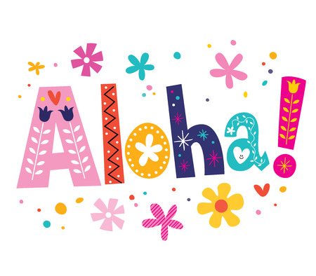 Aloha vector lettering decorative type