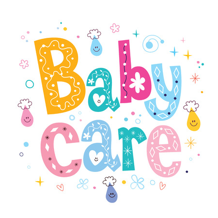 baby care: Baby care decorative lettering type design Stock Photo
