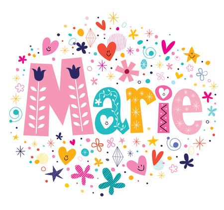 Marie nombre femenino letras decorativas diseño de tipo