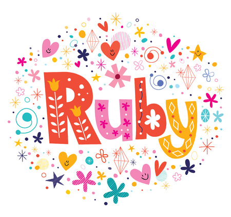 Ruby female name decorative lettering type design