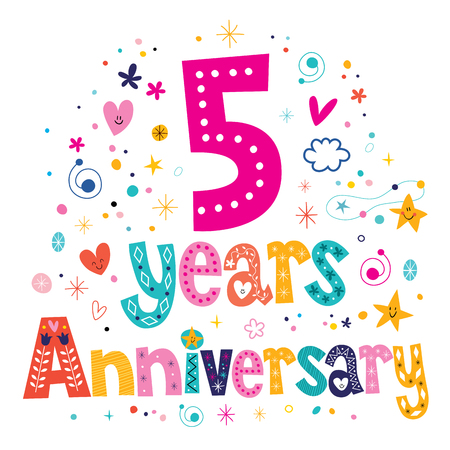 five years': five years anniversary celebration decorative lettering text design Stock Photo