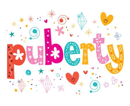 pubertad: la pubertad palabra aislada en el dise�o de tipo letras decorativas blanco Foto de archivo