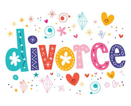 sue: divorce decorative lettering type design Stock Photo
