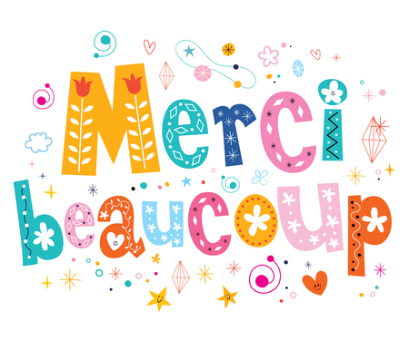 Merci beaucoup thank you very much in French lettering design Foto de archivo