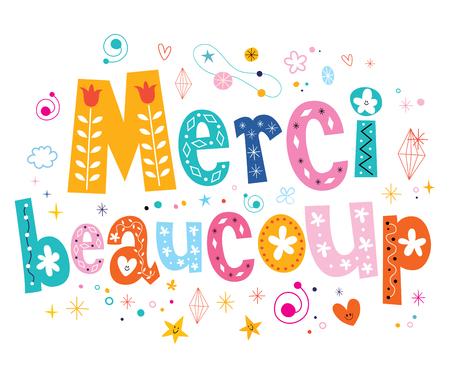 frances: merci beaucoup muchas gracias diseño de letras en Francés Foto de archivo