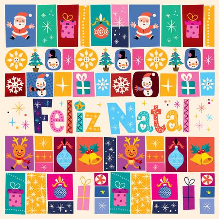 natal: Merry Christmas Feliz Natal - portuguese - Portuguese greeting card