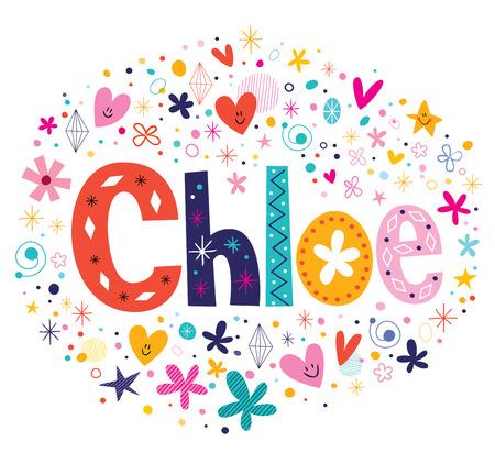 Chloe nombre femenino letras decorativas diseño de tipo