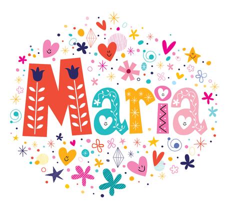 Maria nombre femenino letras decorativas diseño de tipo