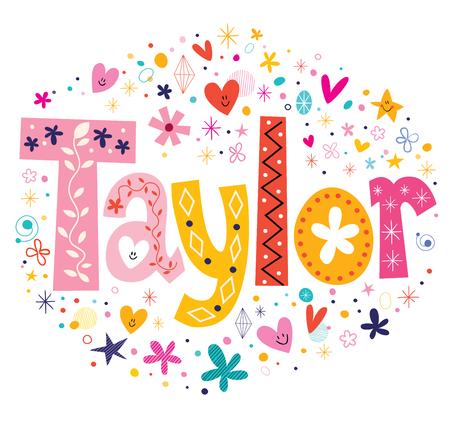 taylor: Taylor girls name design decorative lettering type
