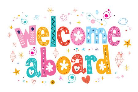 bienvenida: Bienvenido a bordo de la tipografía letras del texto decorativo Foto de archivo