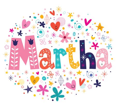 martha: Martha female name decorative lettering type design Stock Photo