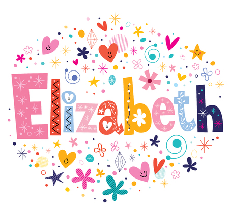 decorative design: Elizabeth female name decorative lettering type design