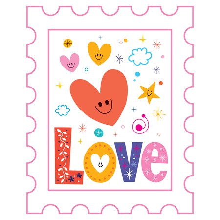 postage: Love postage stamp Stock Photo