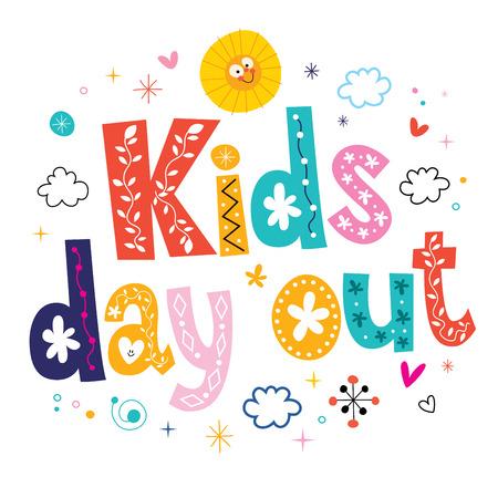 niños con pancarta: día de los niños fuera