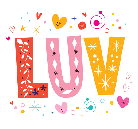 abbreviated: LUV love decorative lettering text
