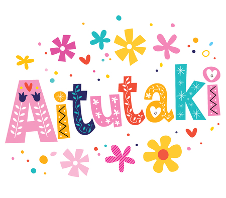 type: Aitutaki vector lettering decorative type Stock Photo