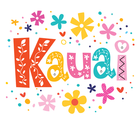 country flowers: Kauai vector lettering decorative type