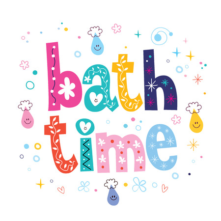 bath time: Bath time decorative lettering type design
