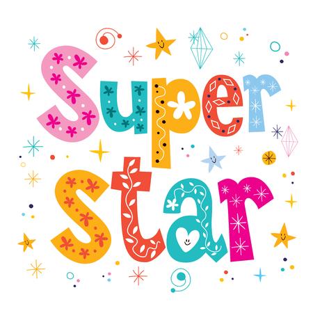 super star: Super star decorative lettering type design