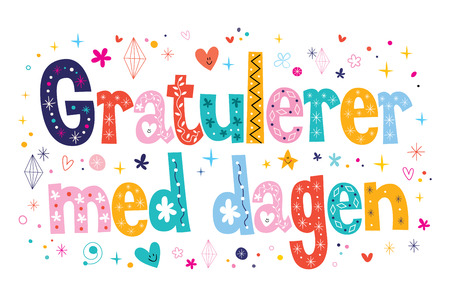 med: Gratulerer med dagen Happy Birthday in Norwegian Stock Photo