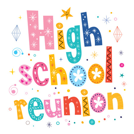 high school reunion decorative lettering text Stock Photo