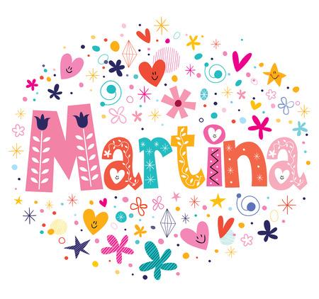 Martina nombre femenino letras decorativas tipo de diseño