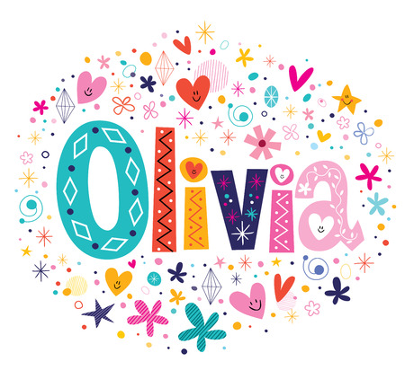 olivia: Olivia female name decorative lettering type design
