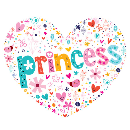 fairy tale princess: princess heart shaped typography lettering design