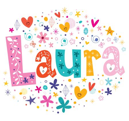Laura girls name decorative lettering type design