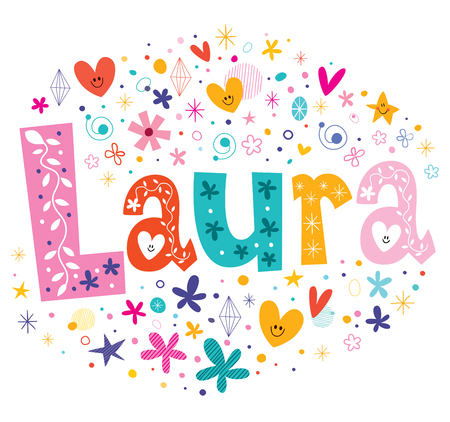 Laura girls name decorative lettering type design