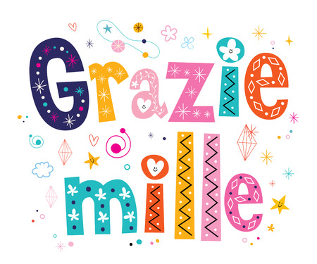 mille: Grazie mille thank you very much in Italian lettering design