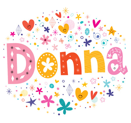 donna: Donna girls name decorative lettering type design