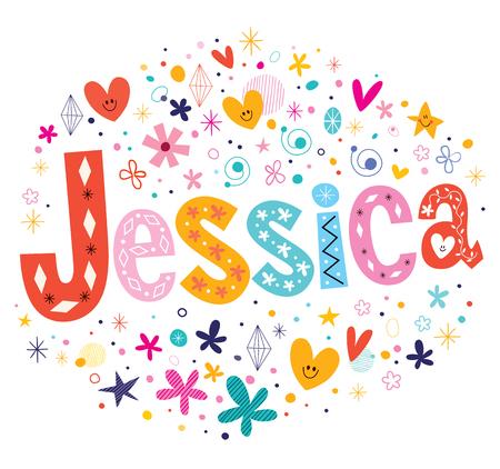 Jessica girls name decorative lettering type design