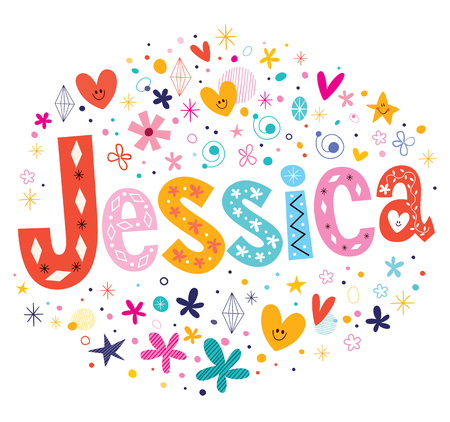 Jessica girls name decorative lettering type design