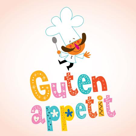 deutschland: Guten appetit decorative lettering with chef character