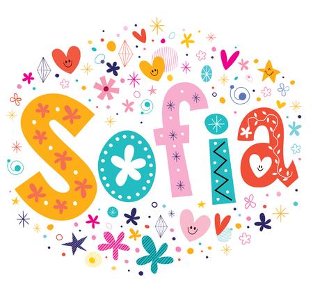 Sofia girls name decorative lettering type design