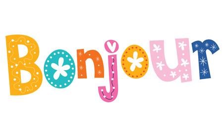 bonjour: french word Bonjour Illustration