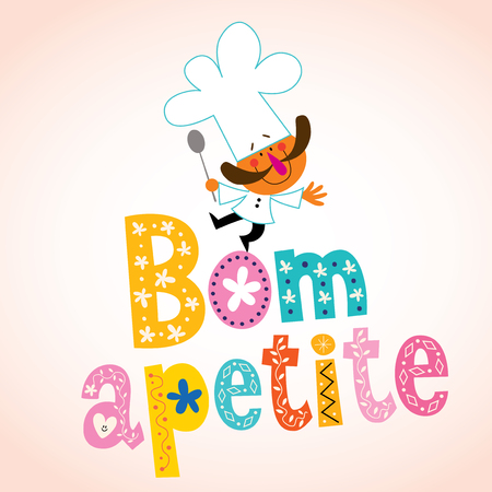 chefs cooking: Bom apetite Portuguese decorative type with chef character
