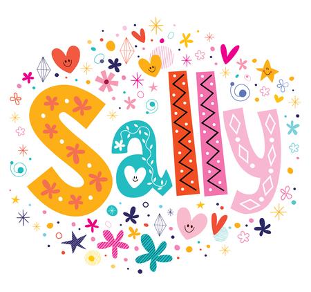 Sally girls name decorative lettering type design  イラスト・ベクター素材