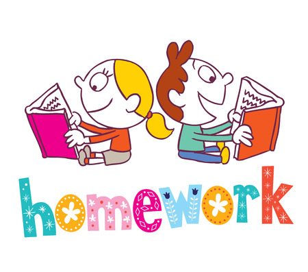 literary characters: homework - kids reading books Illustration