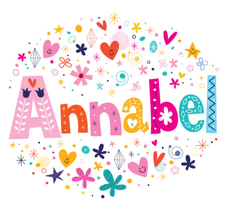 Annabel girl name decorative lettering type design