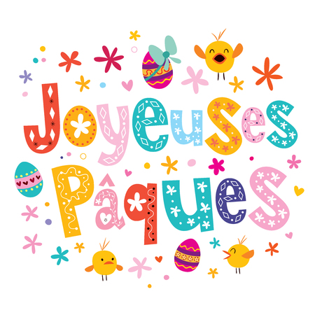 Joyeuses Paques Happy Easter in French greeting card Ilustração