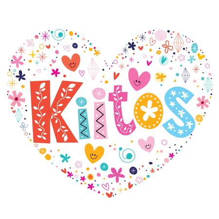 finnish: Kiitos - thank you in Finnish language heart shaped lettering vector design Illustration