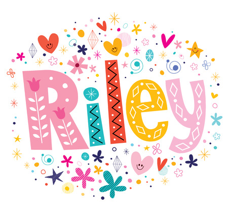 Riley girls name decorative lettering type design