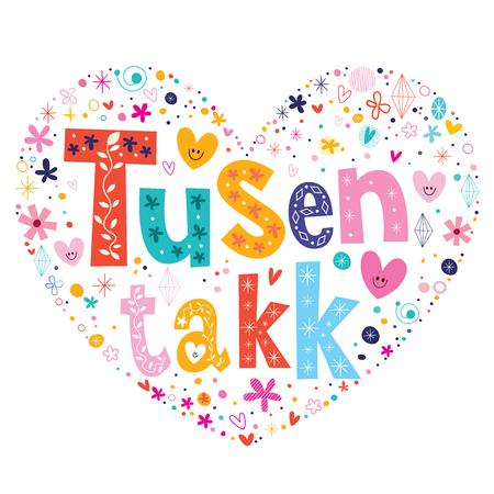 tusen takk thank you very much - many thanks Norwegian heart shaped design