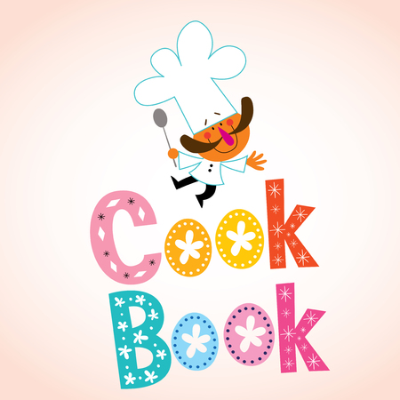 book logo: cook book decorative lettering with chef character