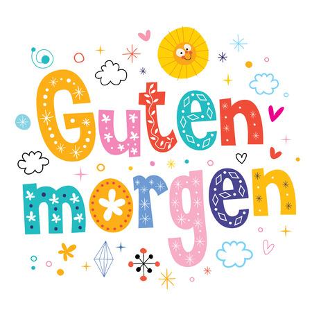 Guten morgen good morning in German Ilustracja